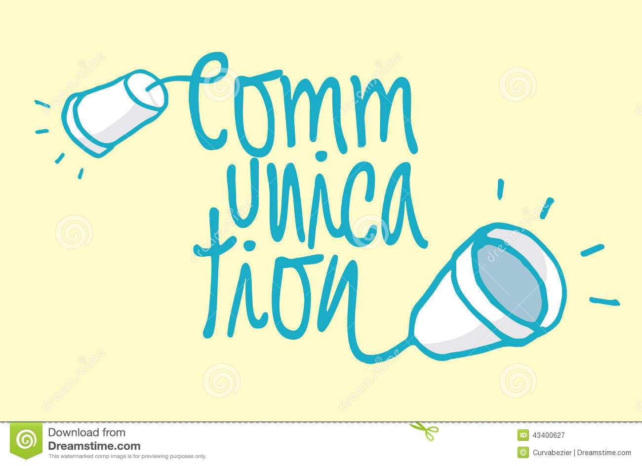 Cartoon illustration of communication word with two cups as cable ...