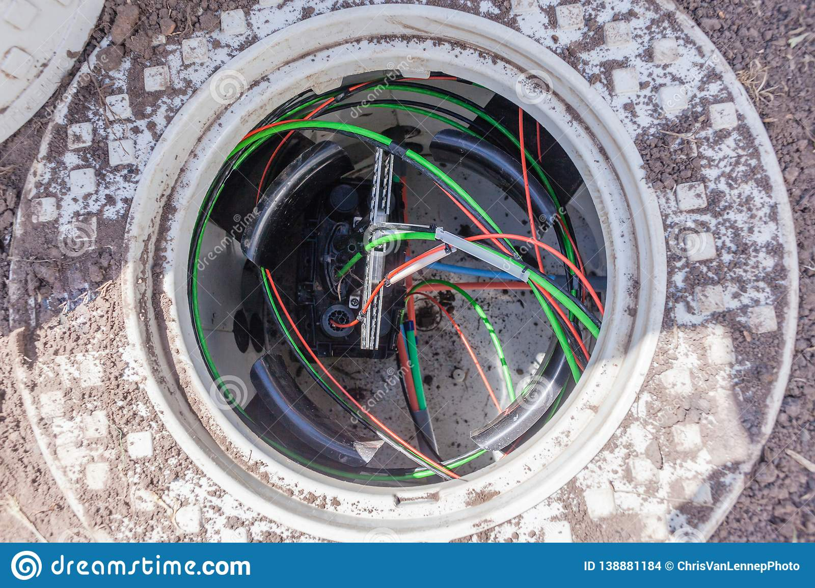 New Fiber Optic Cables Underground Internet Connection Box Stock