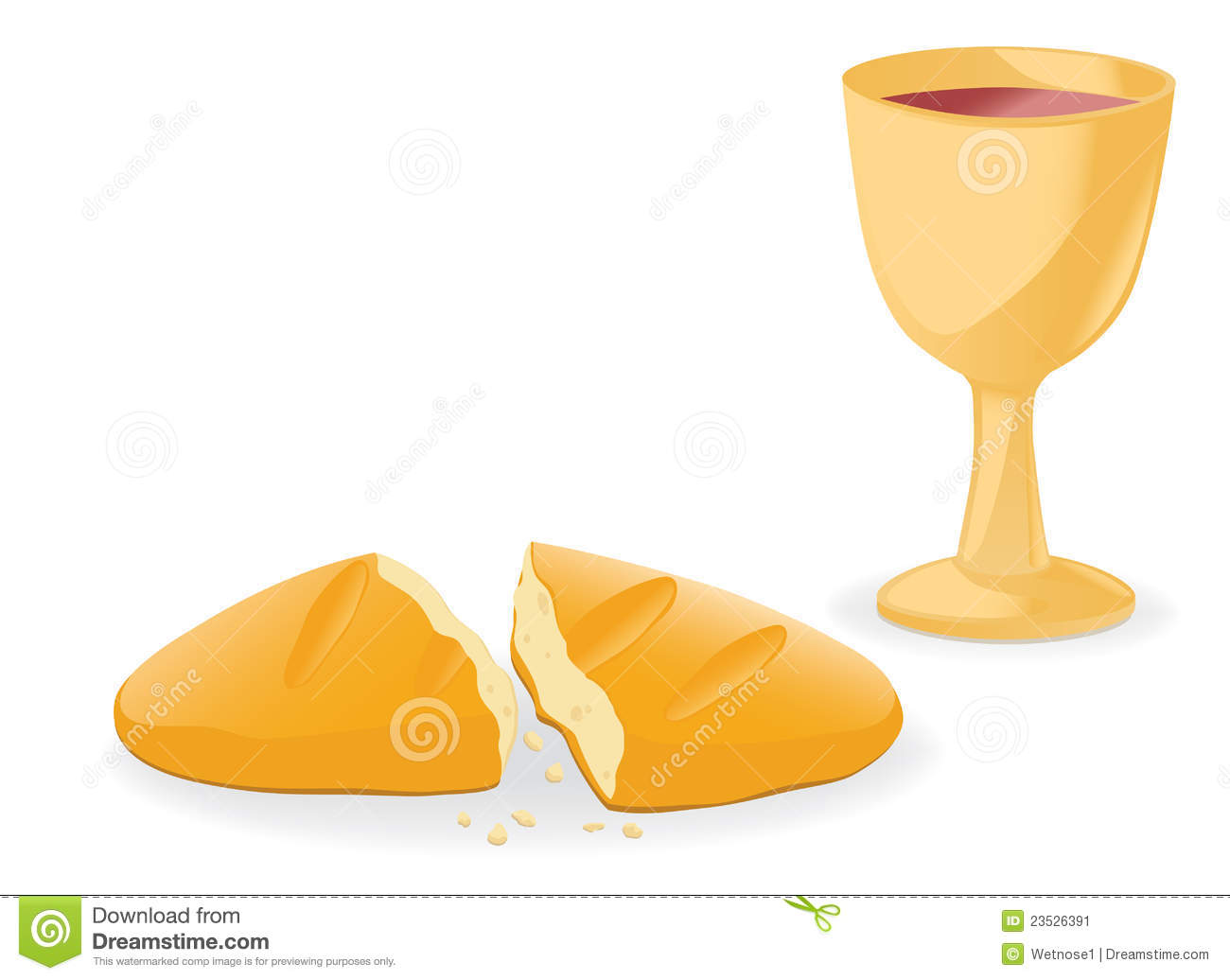 Communion Bread And Wine Stock Vector Illustration Of Chalice