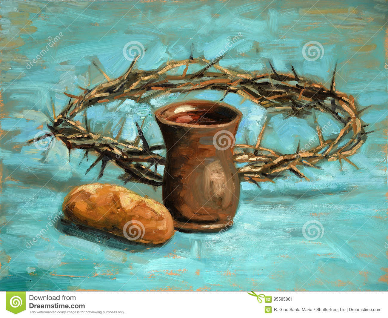 Communion and Crown of Thorns Painting