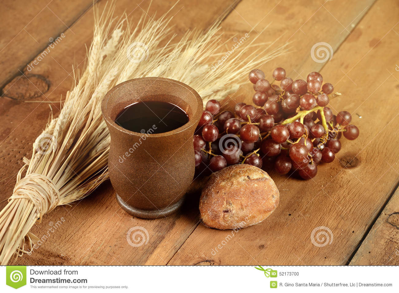 Communion Elements On Wooden Table Stock Photo Image