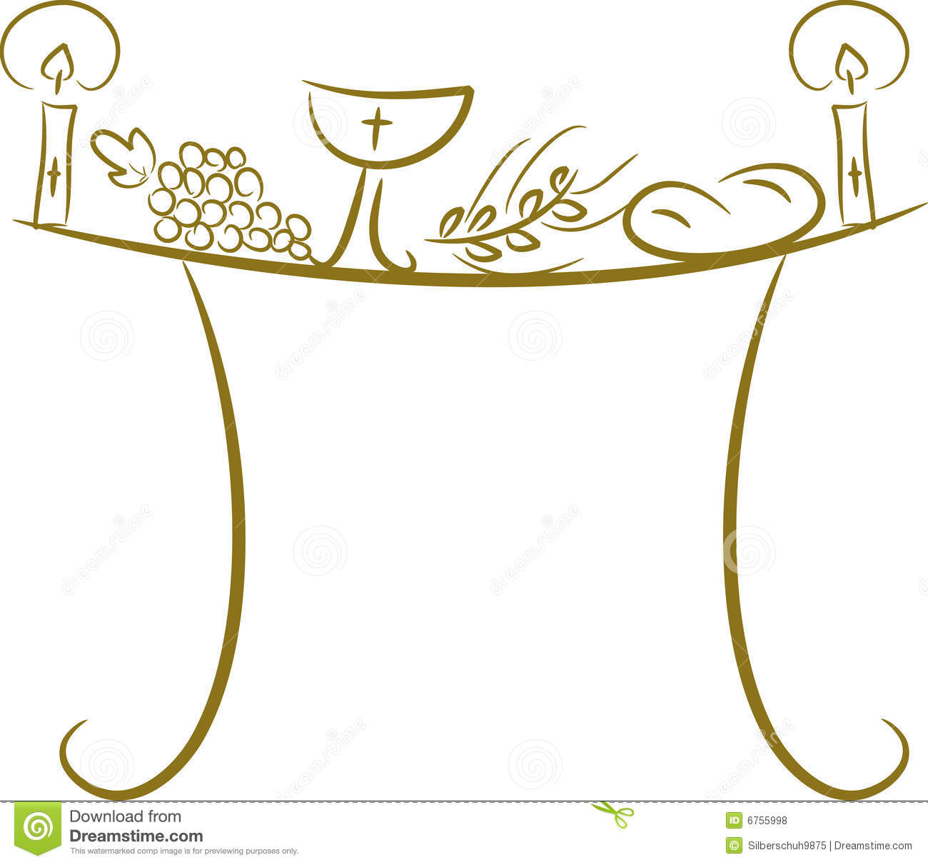 ... candle (light), chalice, grapes (wine), ear, cross and bread