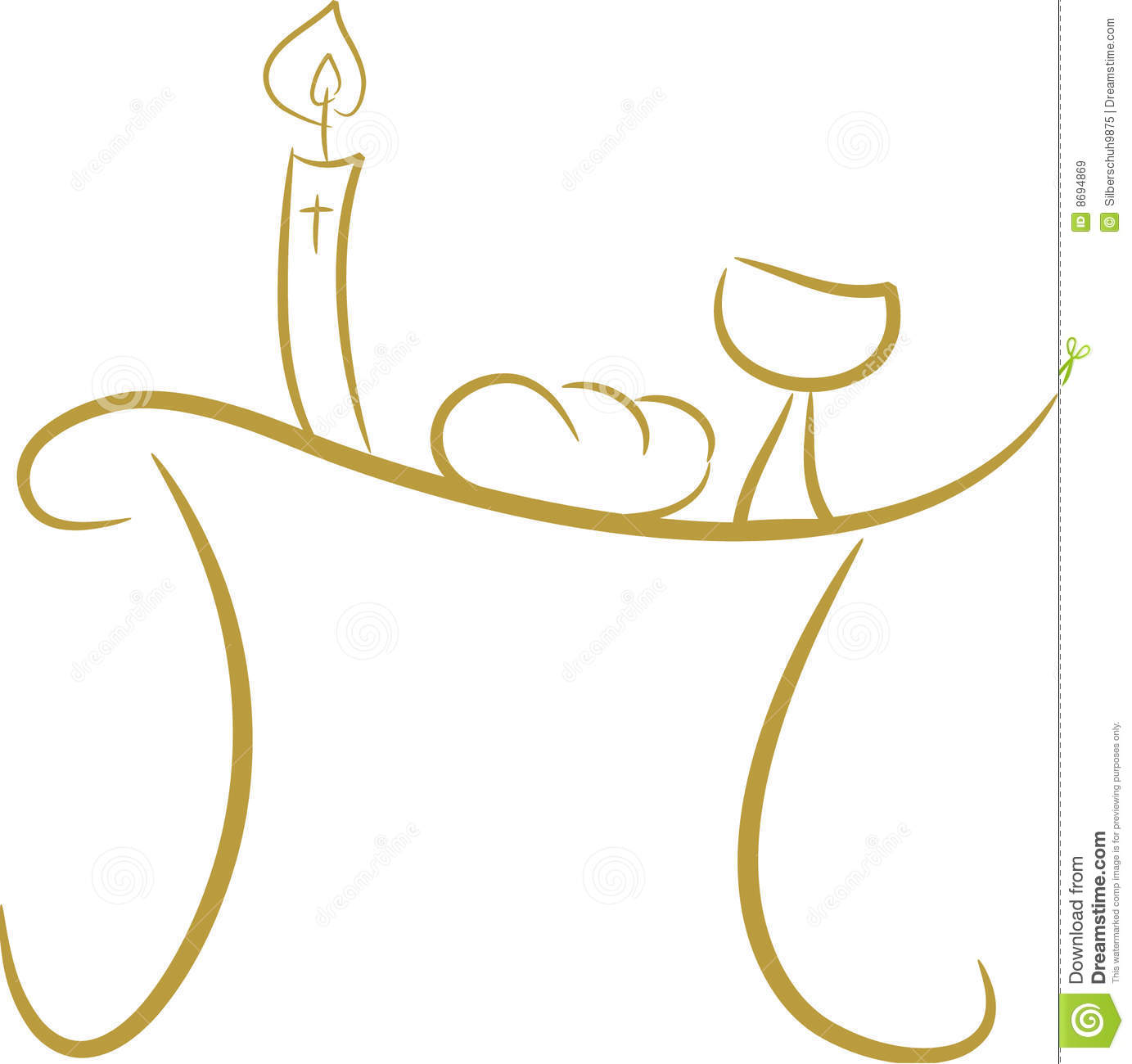 ... symbols including candle (light), chalice (wine), cross and bread