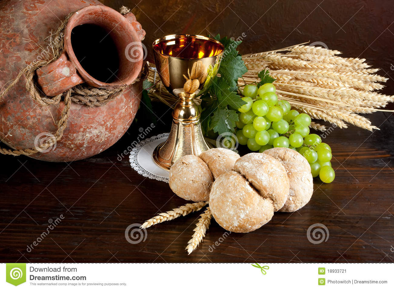 Communion Wine And Bread Stock Image Image Of Golden