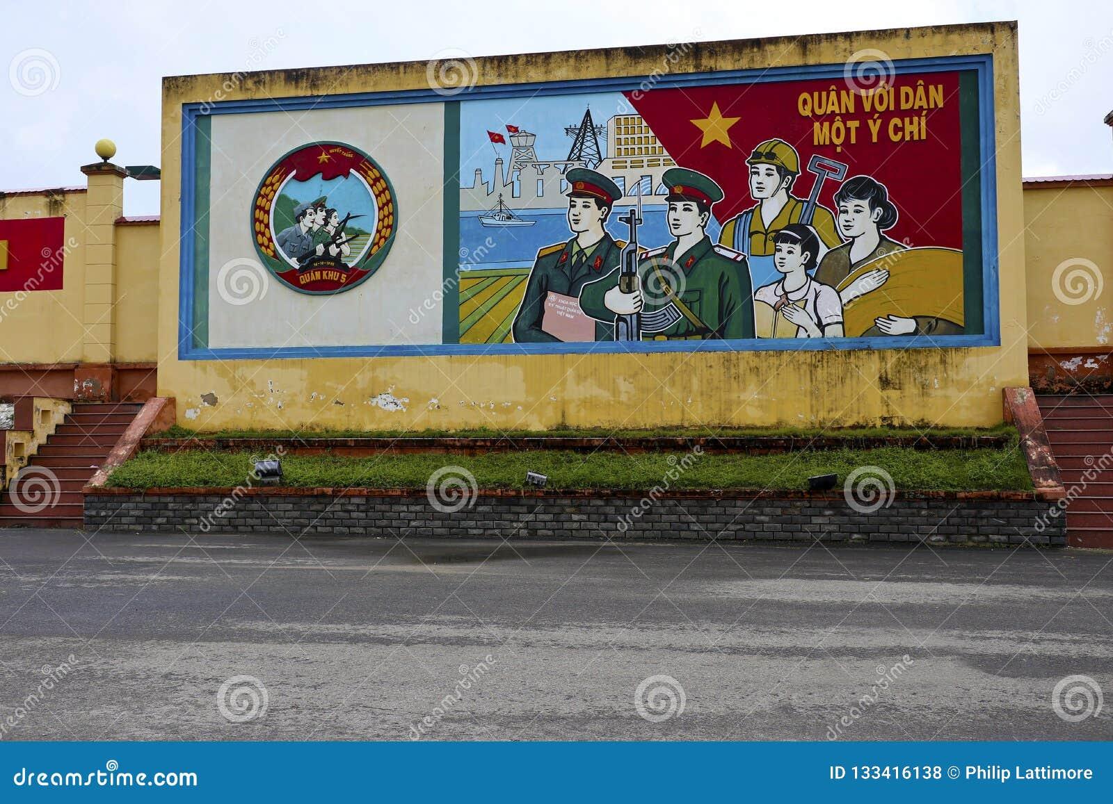Communist propaganda mural in danang vietnam