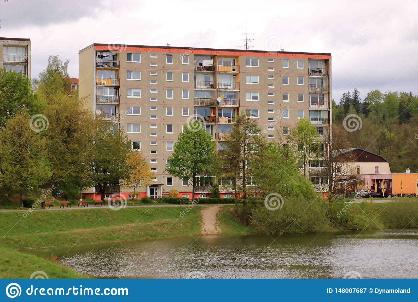 Communist socialist architecture. Architectural detail and pattern of social residential of apartments in Jablonec, Czech Republic