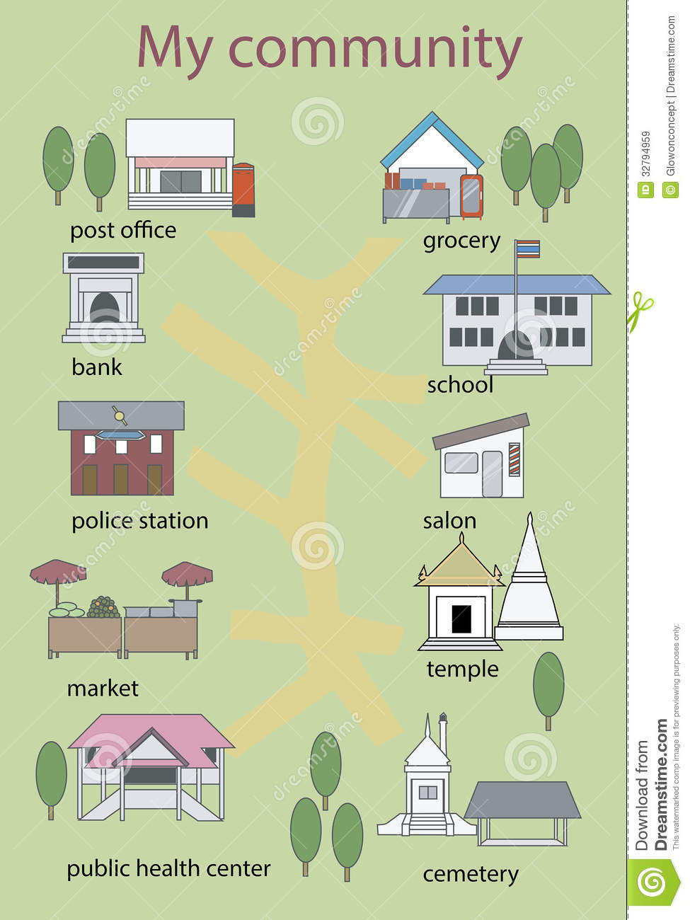 Asian community , places and building illustration. Post office bank ...