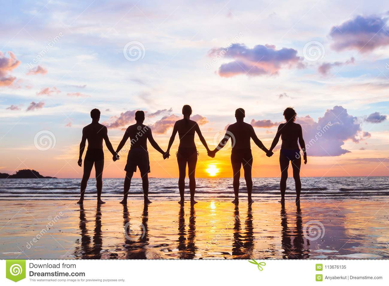 Community or group concept, silhouettes of people standing together and holding hands, team
