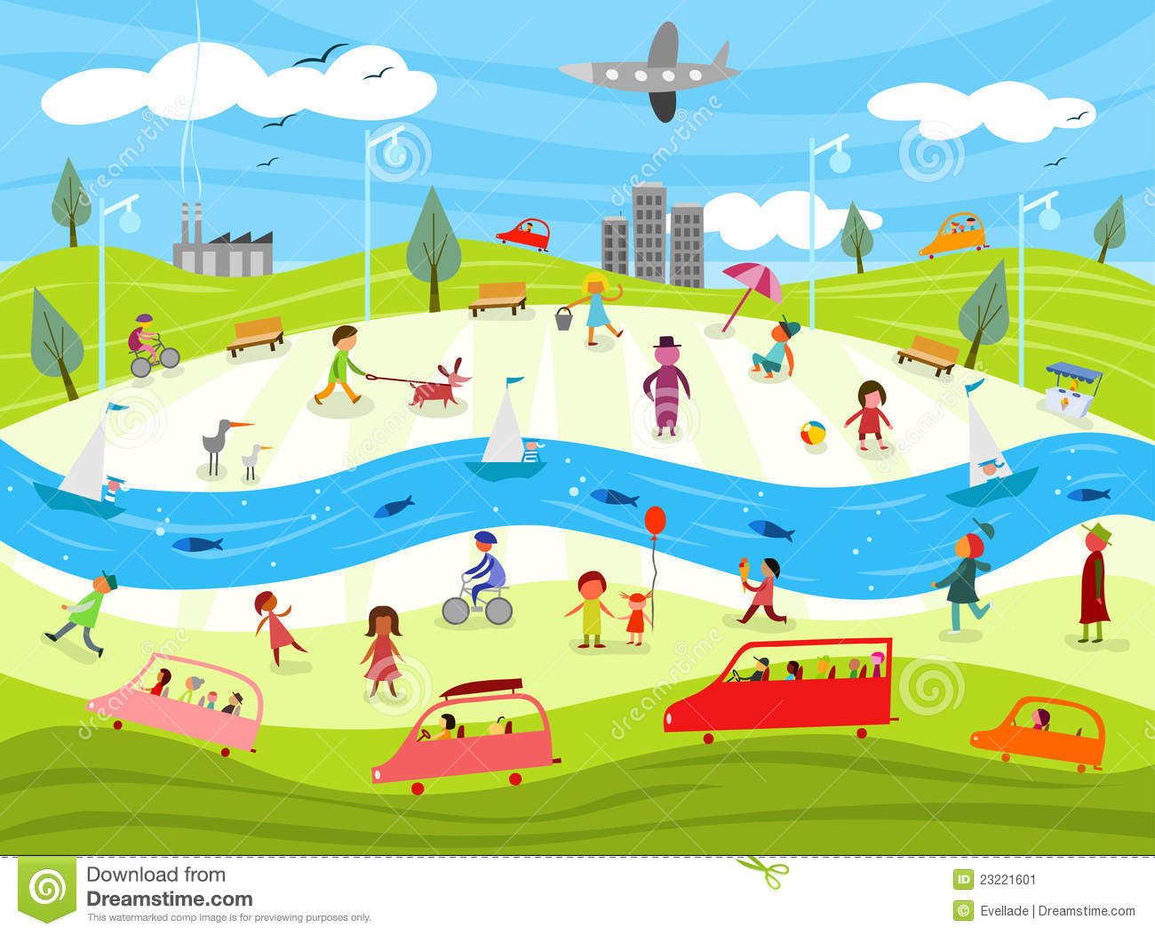 Colorful illustration of a day in a city life. Vector file available.