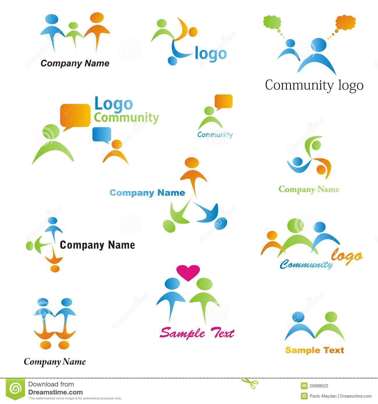 Community, network and social icon set. Collection of 12 design ...