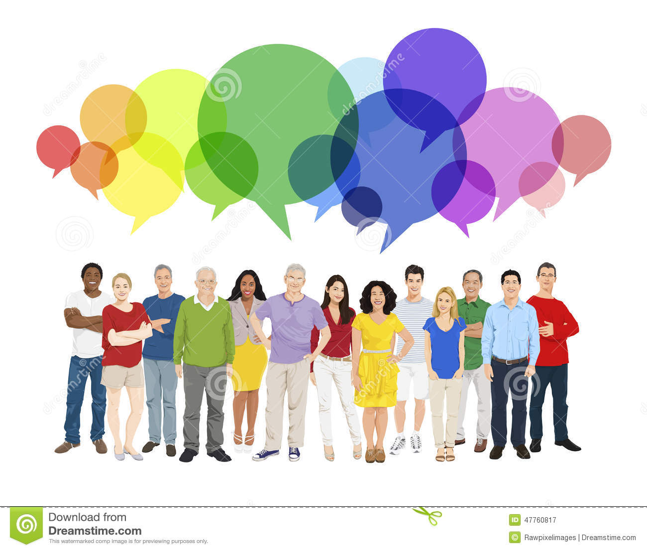 Community Multiethnic Cheerful People Speech Bubble Concept Stock ...