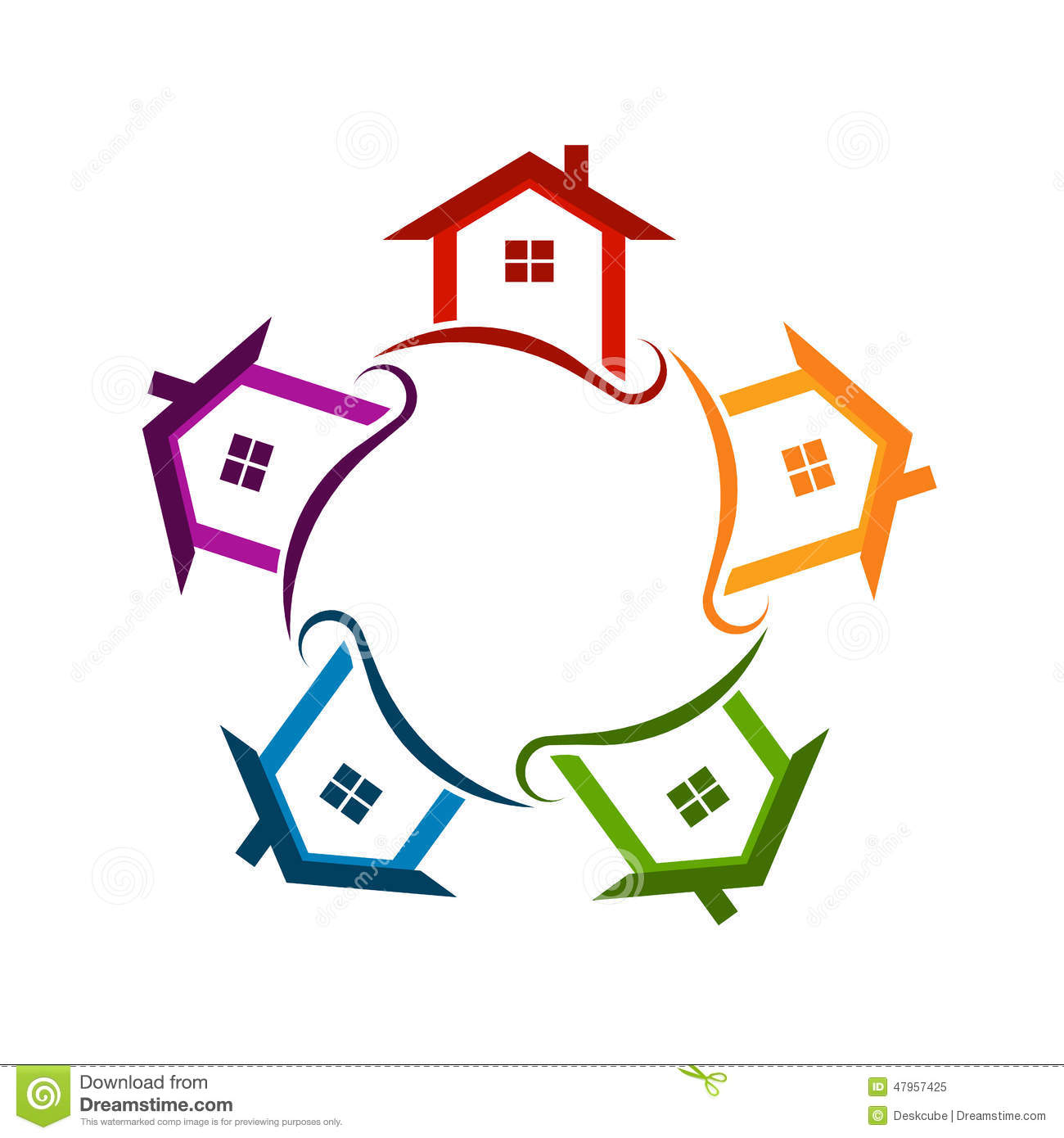 Community Neighborhood Houses Logo Stock Photo - Image: 47957425