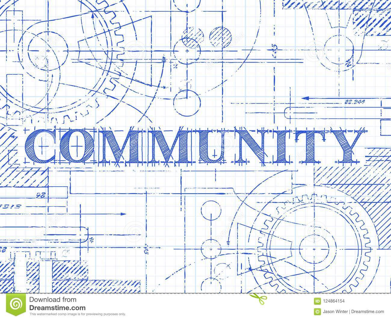 community graph paper technical drawing stock vector illustration