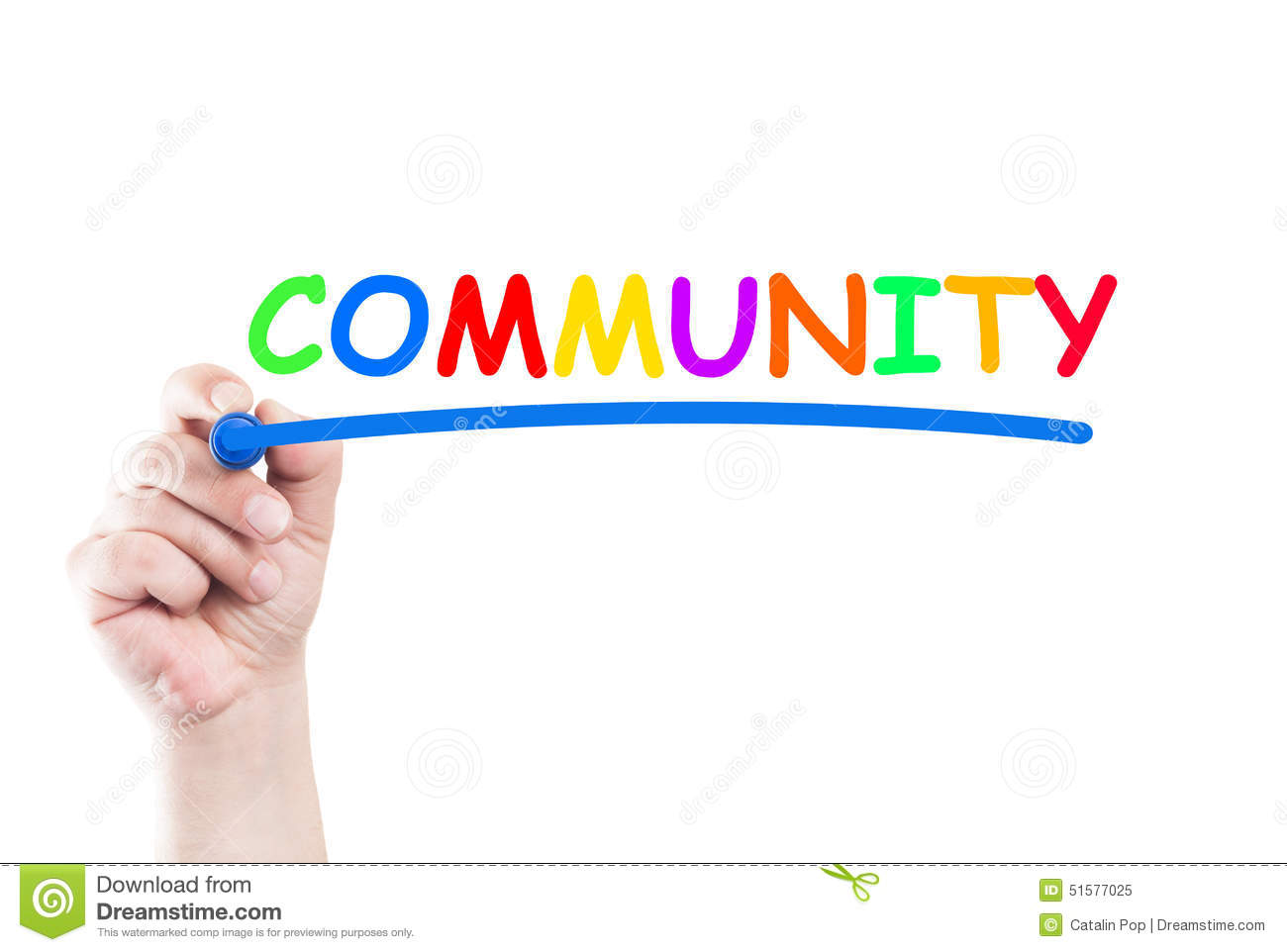 Word community written by hand using a marker and underline on ...