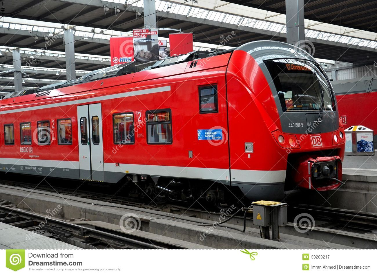 Red Commuter Train Parked At Munich Station Germany
