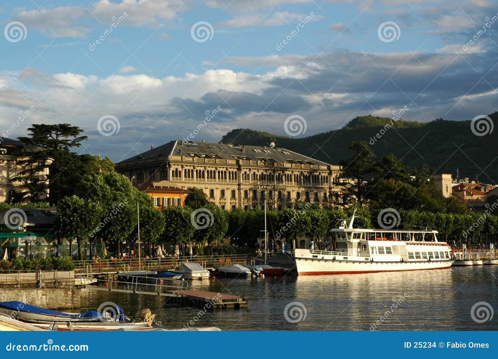 Download Como stock photo. Image of nave, lago, porto, panorama, italia - 25234