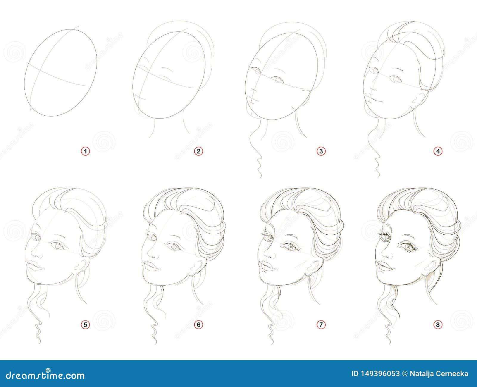 Como crie o desenho de lápis passo a passo A página mostra como aprender sucessivamente a menina bonita imaginária da tração