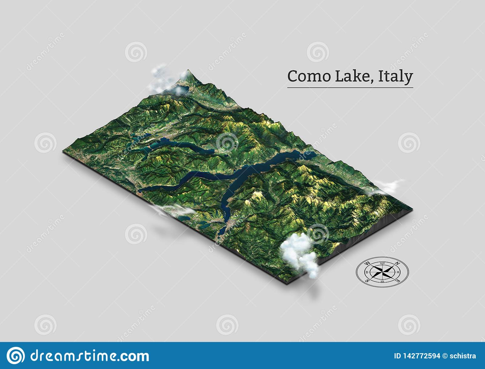 Como Lake isometric map, Italy