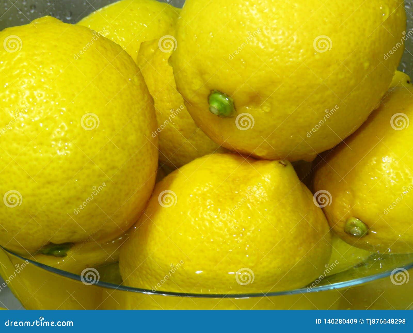 Como lavar limões? Limões amarelos maduros suculentos na água Fruto tropical saudável rico da vitamina C