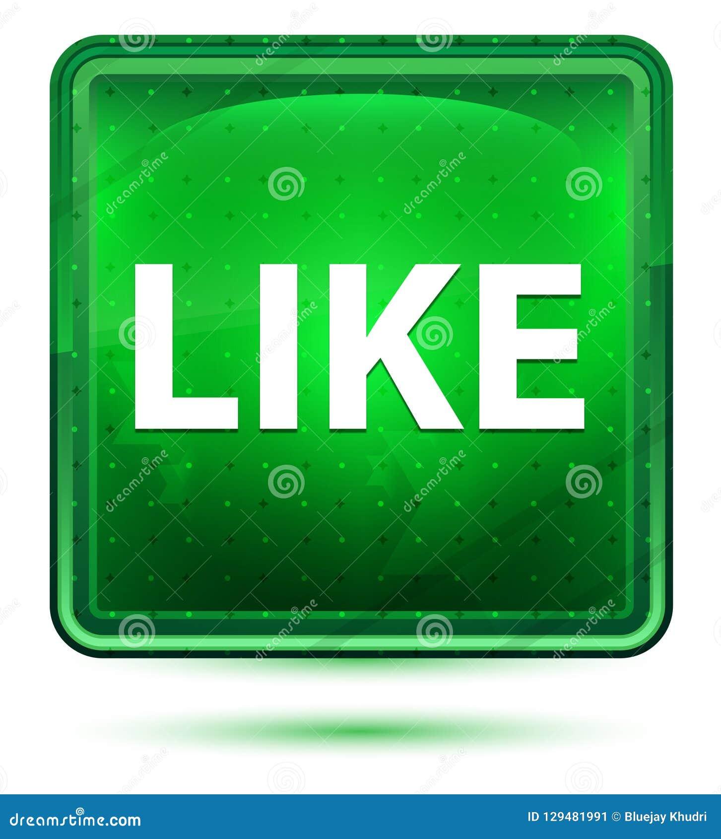 Como a luz de néon - botão quadrado verde