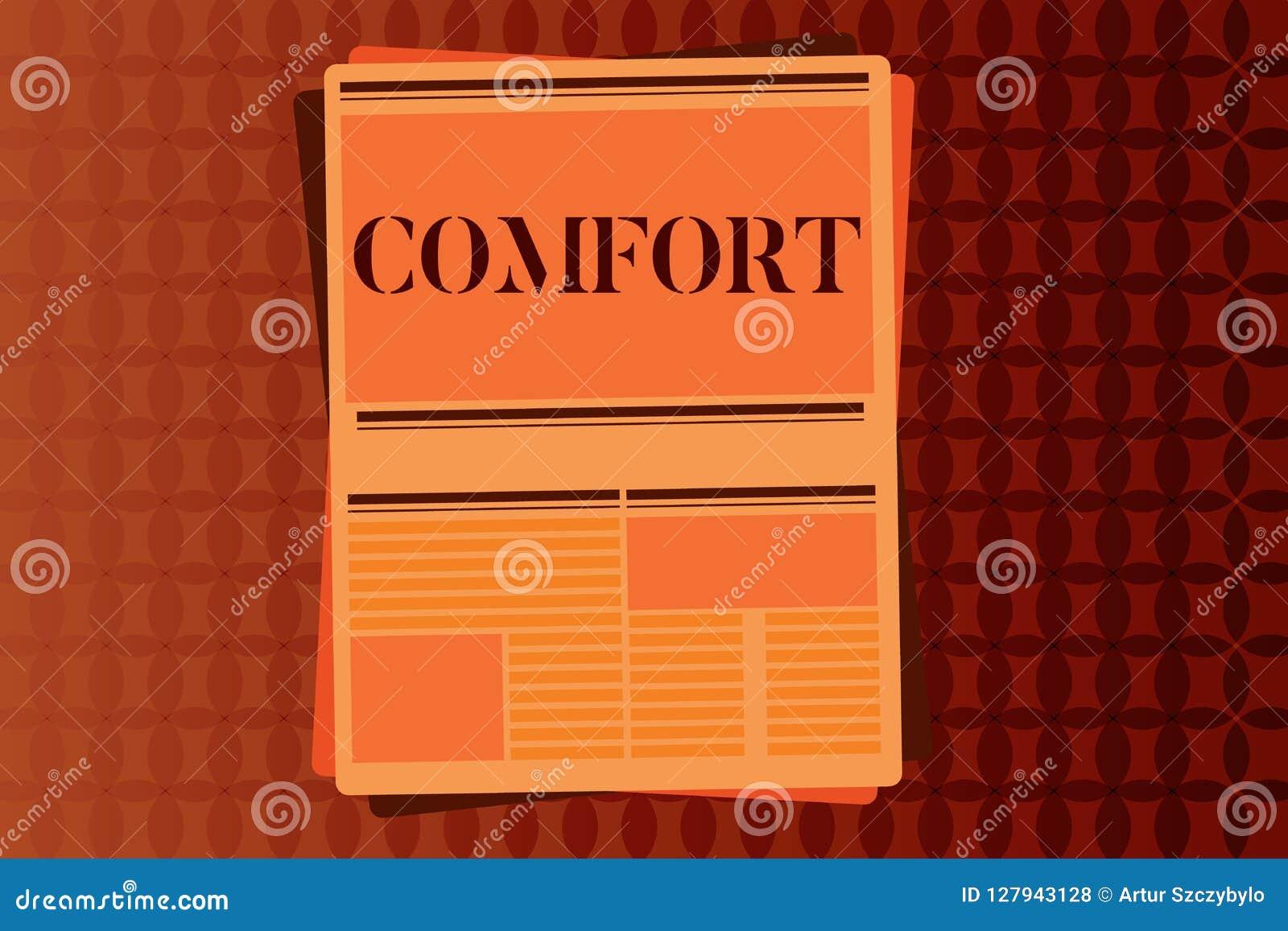 Comodidad de la escritura del texto de la escritura Concepto que significa la libertad física de la facilidad de la relajación de
