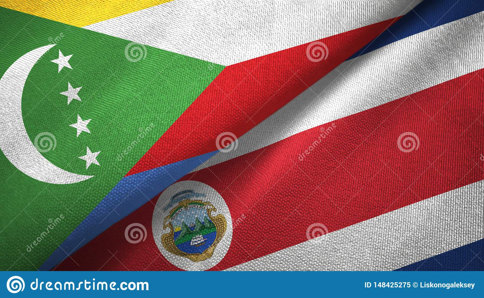 Comoros and Costa Rica two flags textile cloth, fabric texture