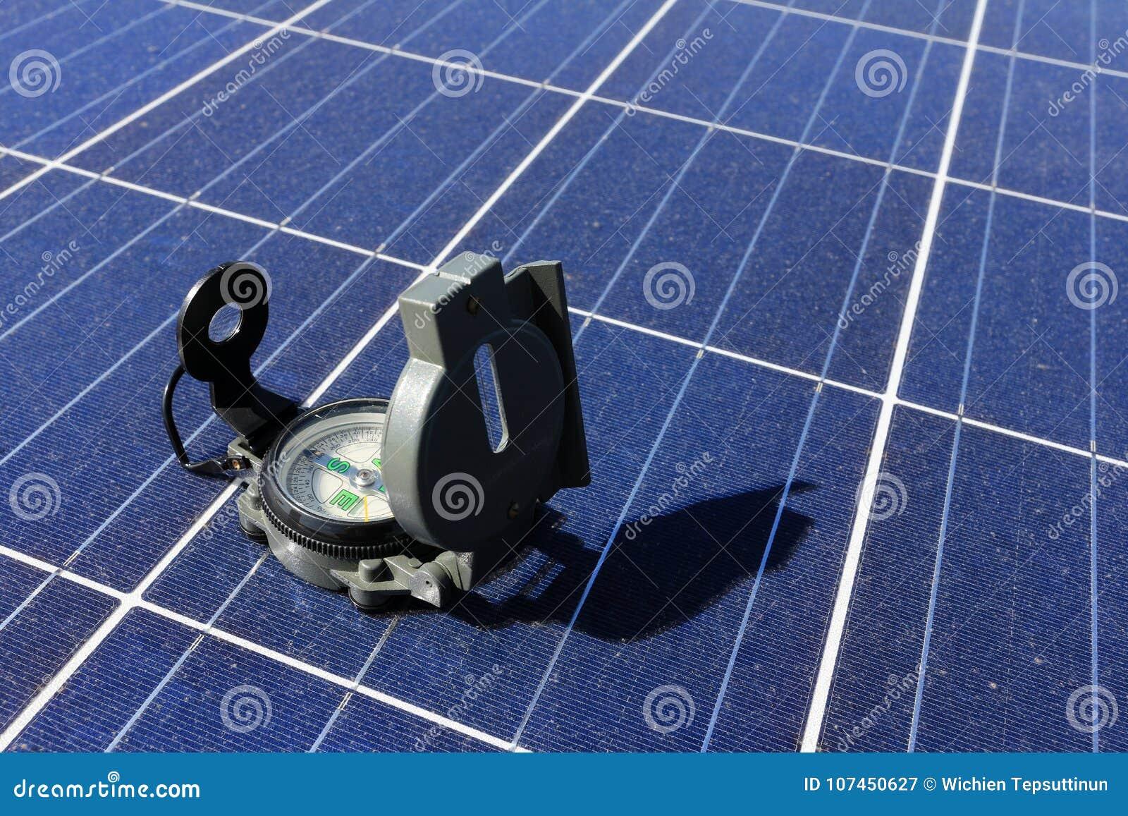 Compás en la importancia del panel solar del concepto de la dirección