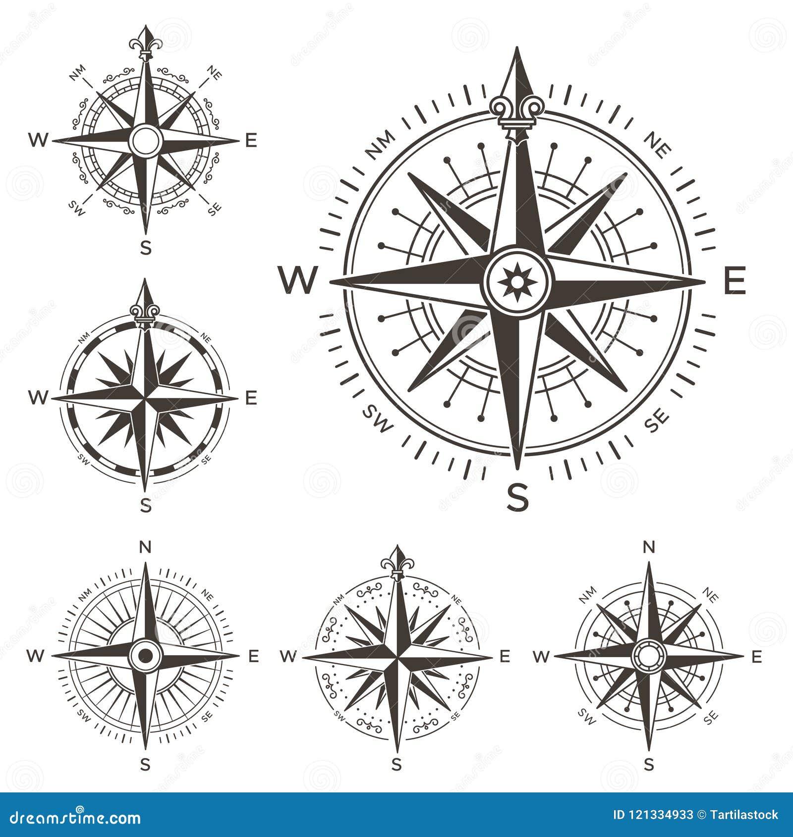 Compás náutico retro Rosa del vintage del viento para el mapa del mundo del mar Símbolo del oeste y del este o del sur y del nort