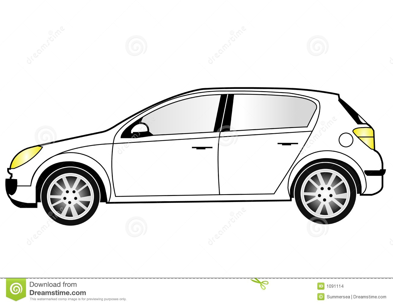 Line Art Car : Compact car line art stock illustration of