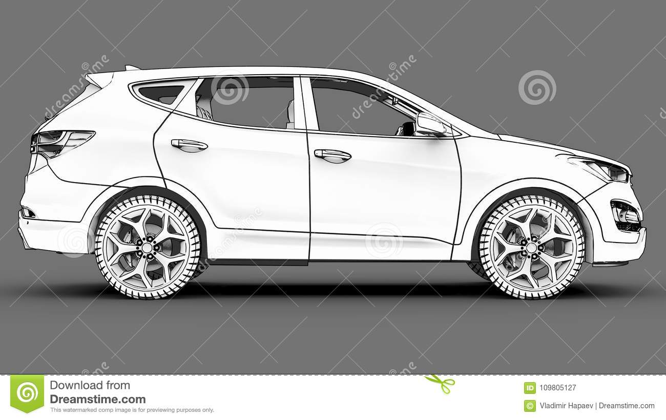 Compact City Crossover White Color On A Gray Background Monochrome Schematic Download Image With Shadows