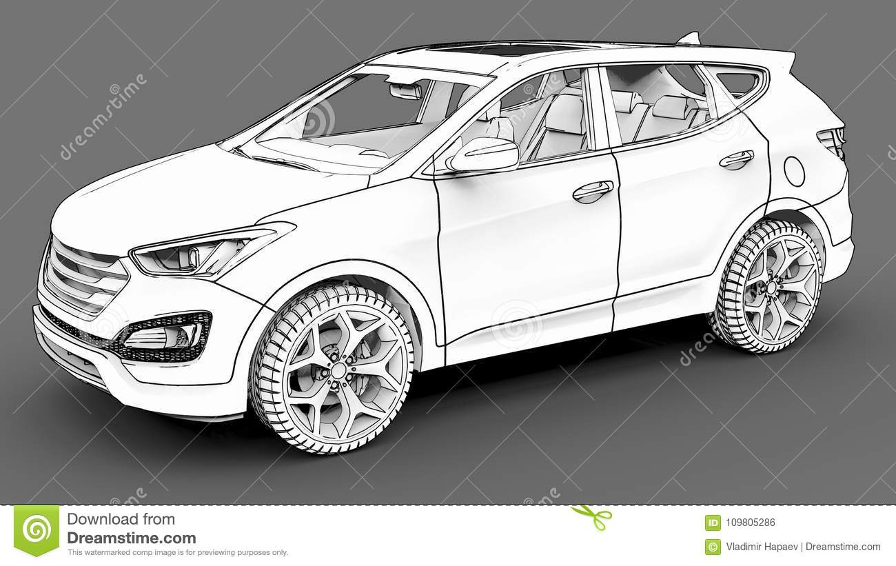 Compact City Crossover White Color On A Gray Background Monochrome Schematic Image With Shadows The Surface 3d Rendering