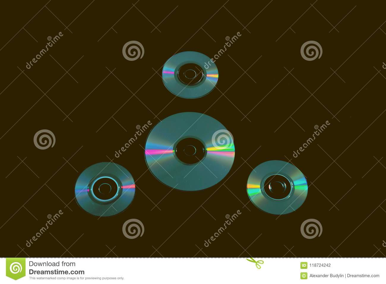 Compact Discs On The Background Stock Illustration