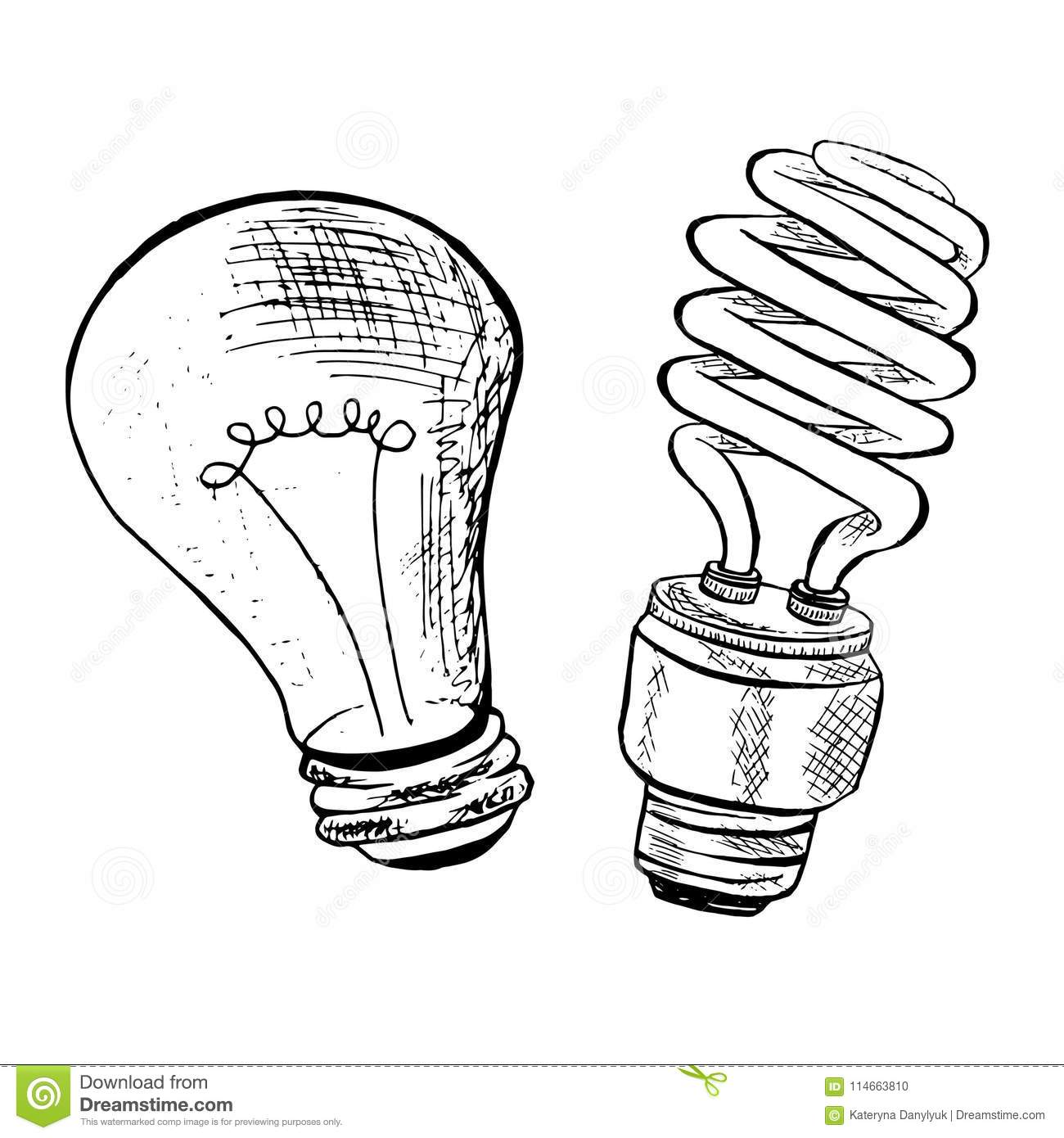compact fluorescent light bulb sketch vector illustration