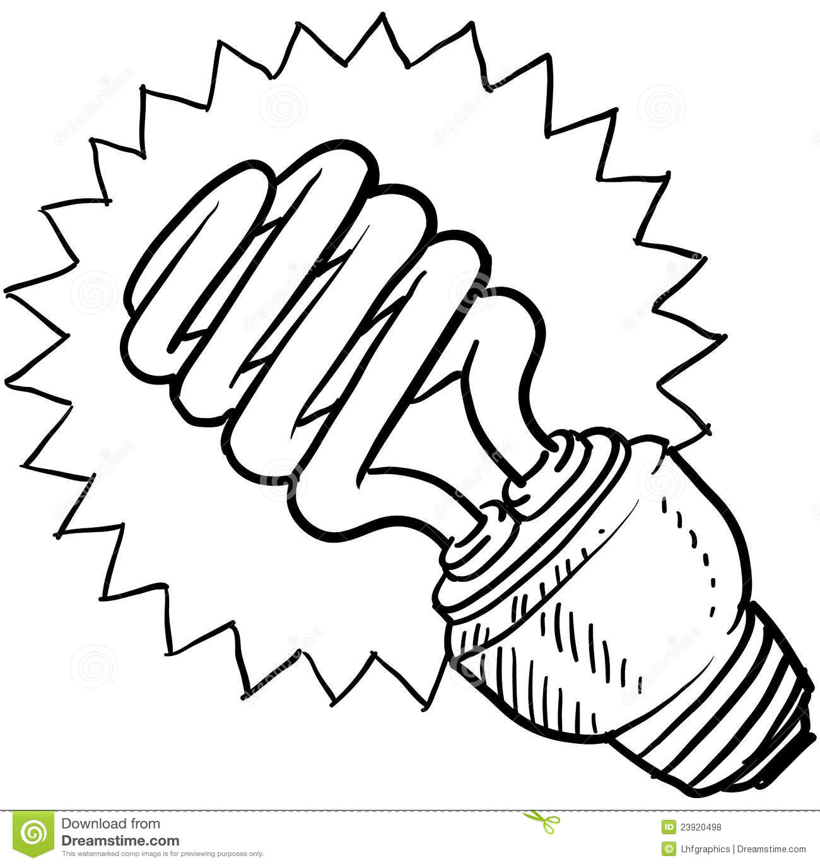 compact fluorescent light bulb sketch stock vector