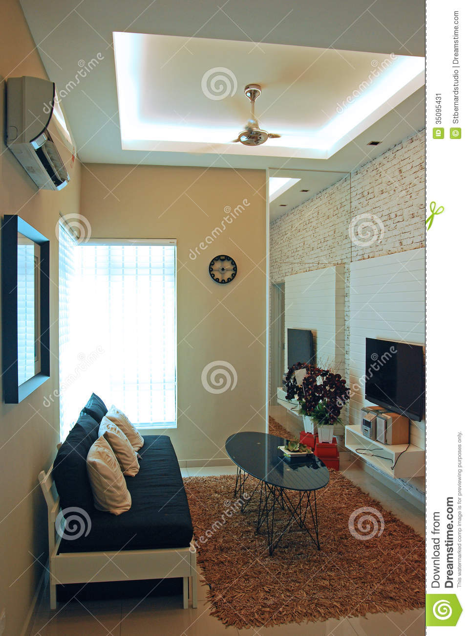 A Compact Living Room Design Stock Image - Image of framed, double