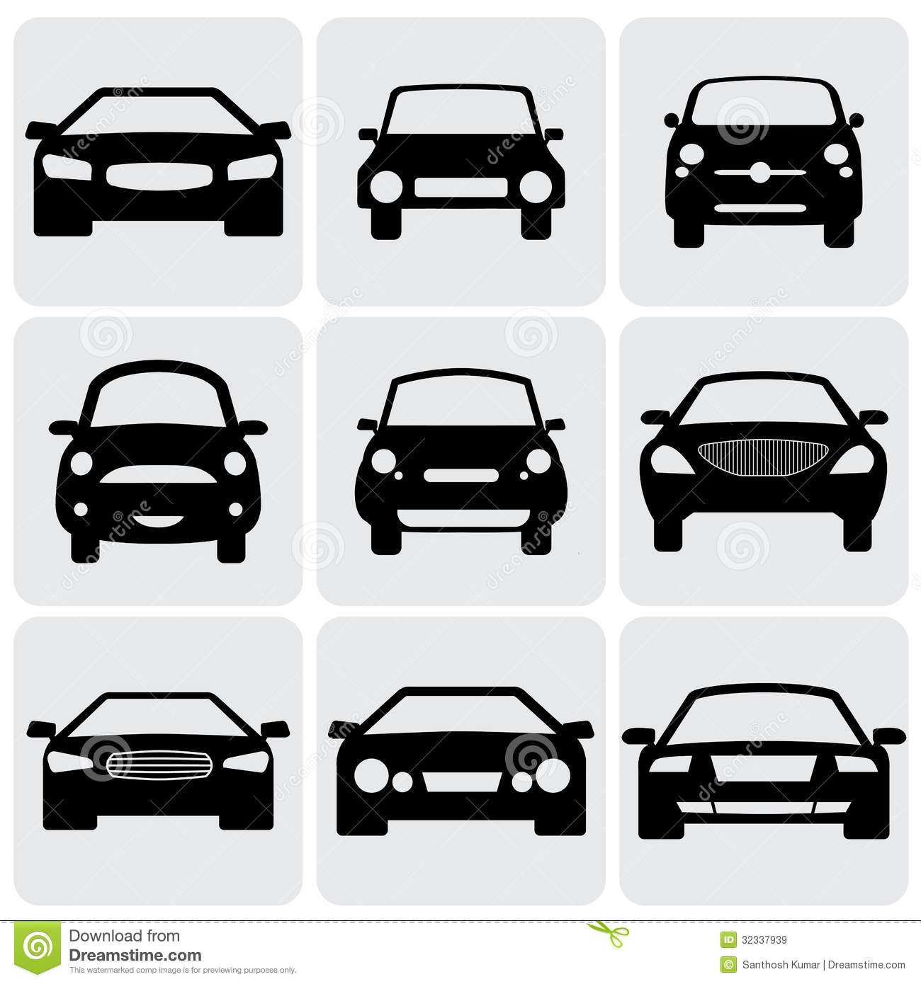 compact and luxury passenger car icons signs fro stock vector image 32337939. Black Bedroom Furniture Sets. Home Design Ideas