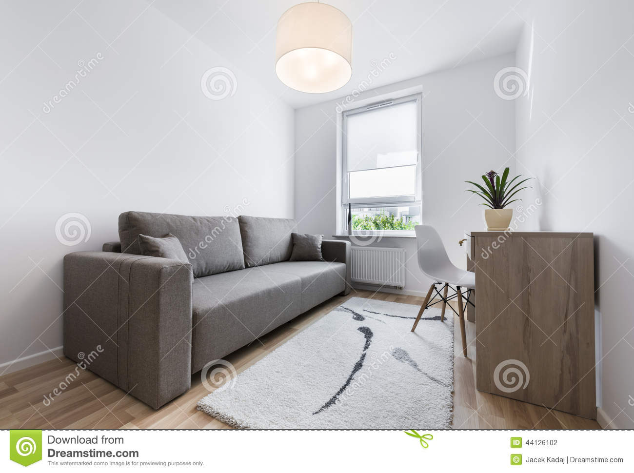 Compact modern sleeping room interior design stock photo for Sleeping room interior design