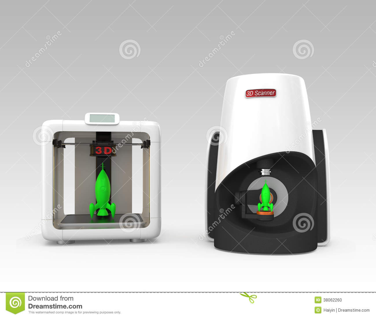 Compact Personal 3D Scanner And Printer Stock Illustration
