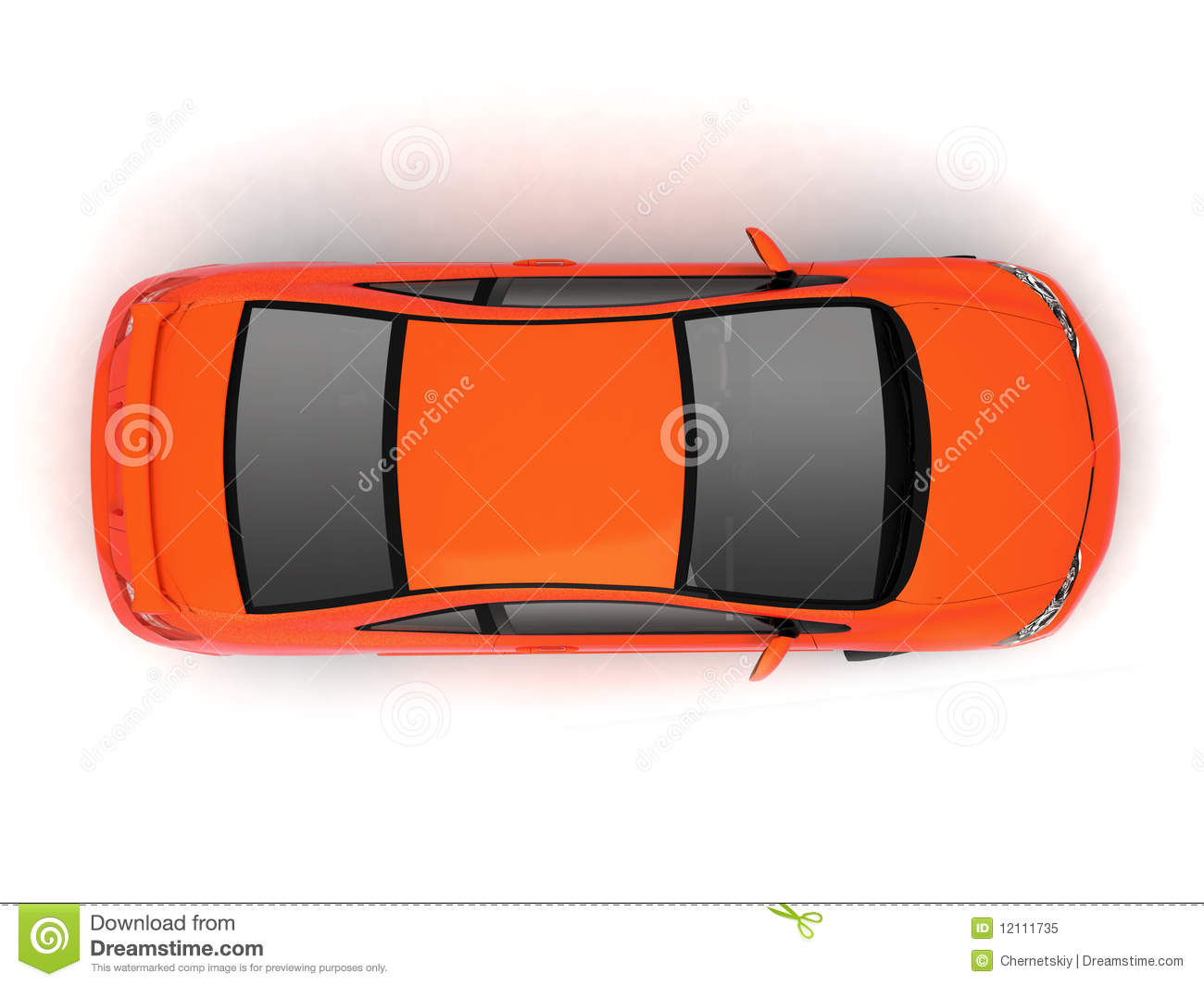 Compact Red Car Top View Stock Illustration Illustration Of Auto