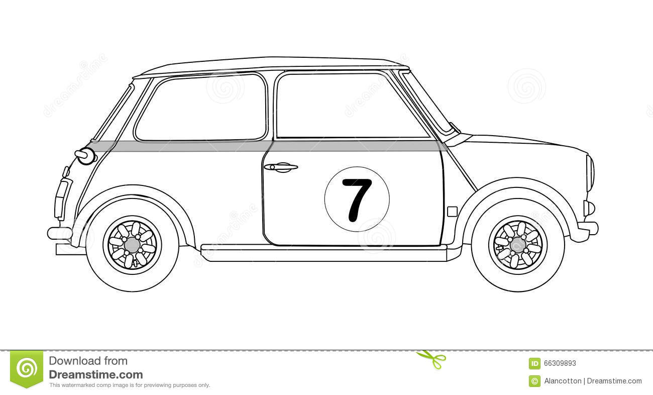 Old car outline drawing 1