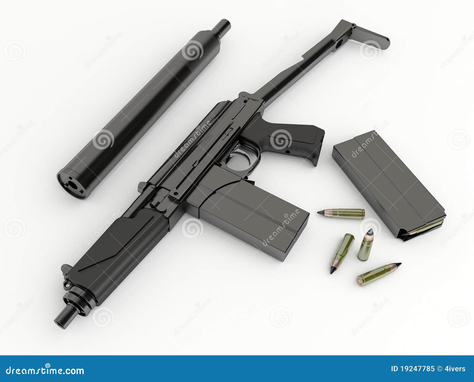 compact submachinegun 9a91 with silenced stock