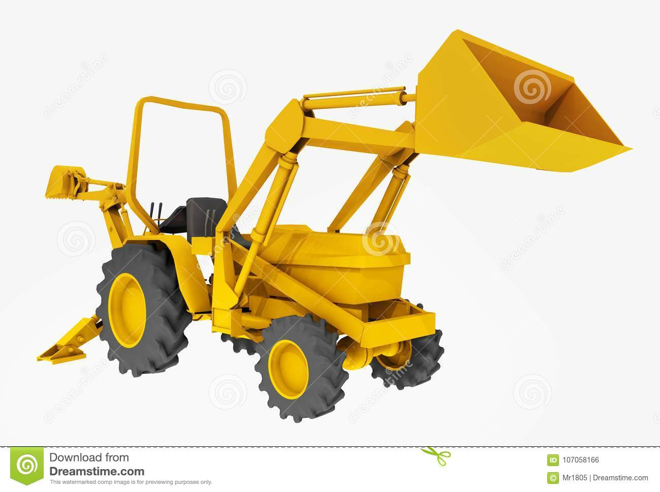 Compact Tractor, Front Loader And Backhoe, Isolated On White