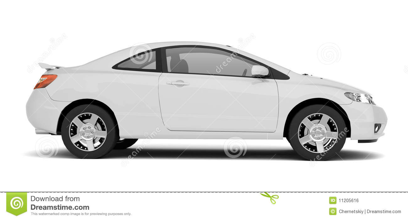 compact white car side view stock illustration