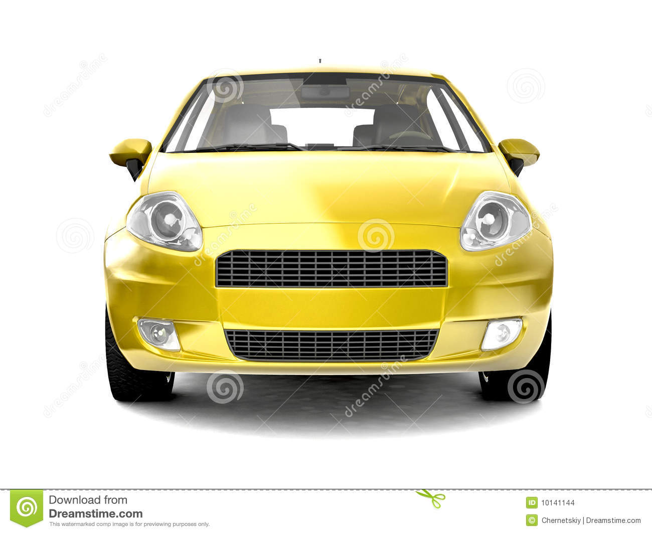 compact yellow car front view stock illustration. Black Bedroom Furniture Sets. Home Design Ideas