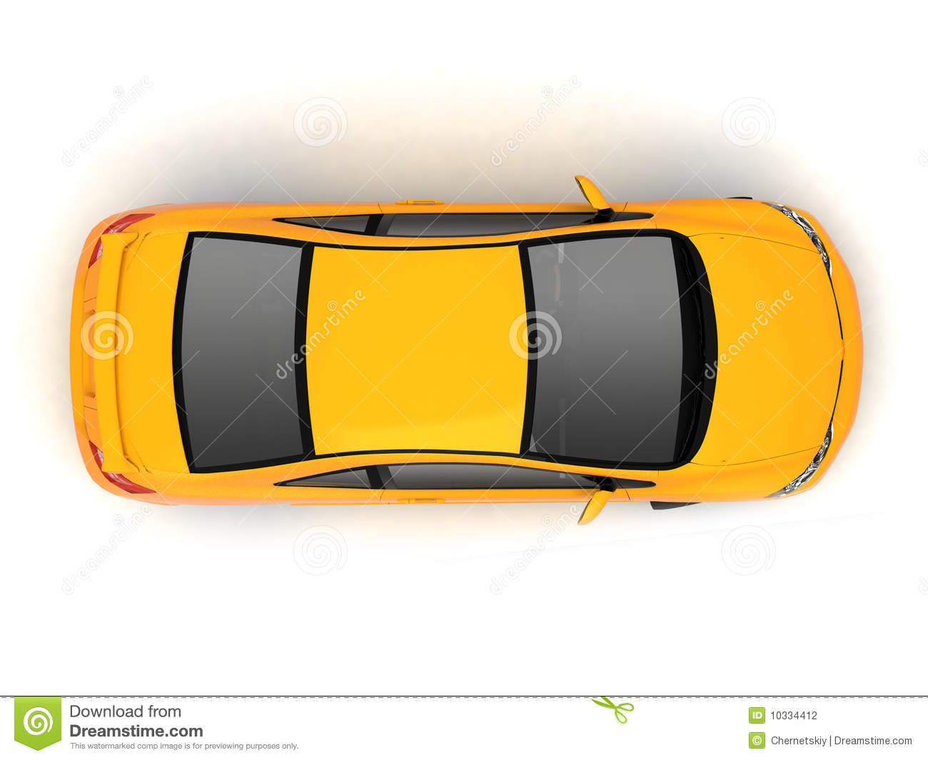 Compact Yellow Car Top View Stock Photography Image