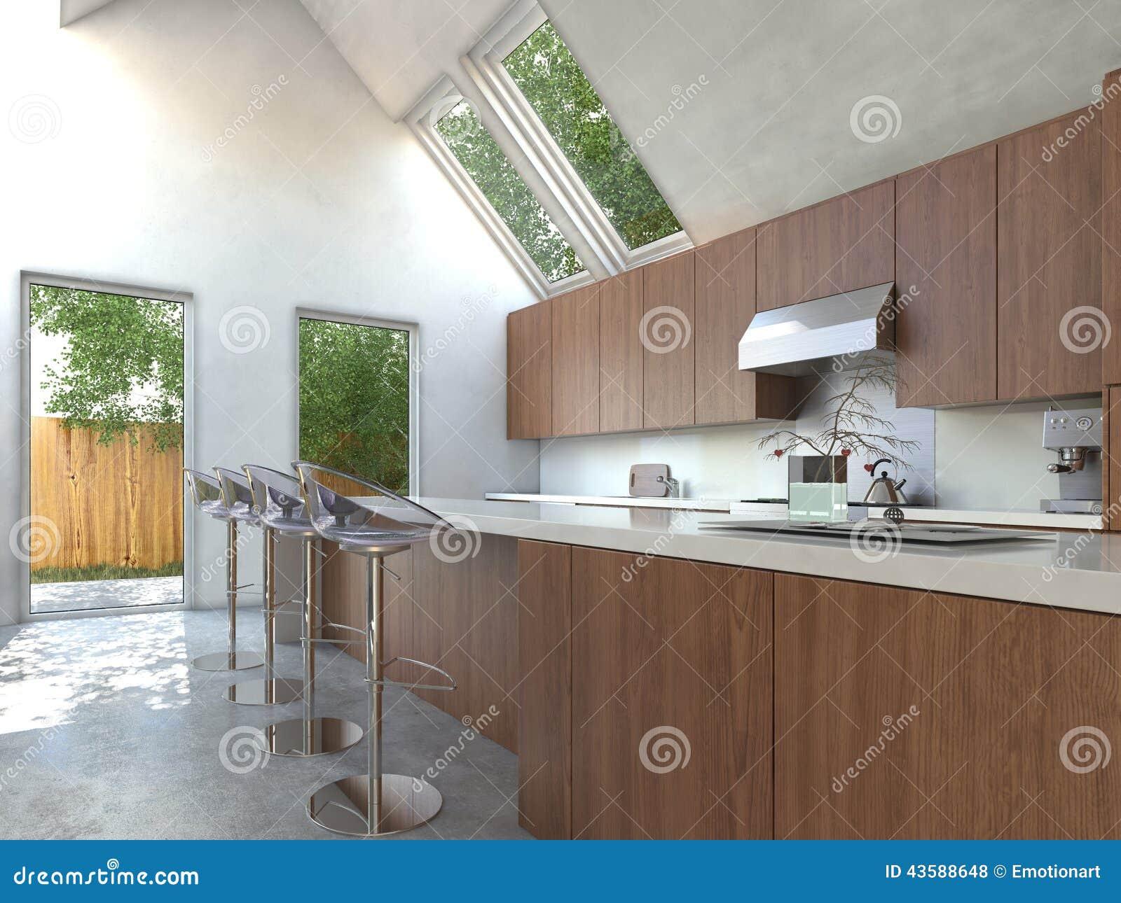 Compacte keuken met een barteller en krukken stock illustratie afbeelding 43588648 - Keuken met teller ...
