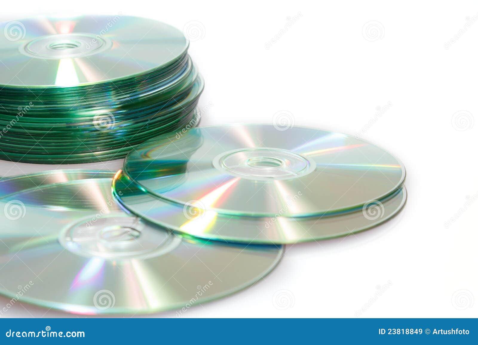 Compacts-disc cd em um fundo branco