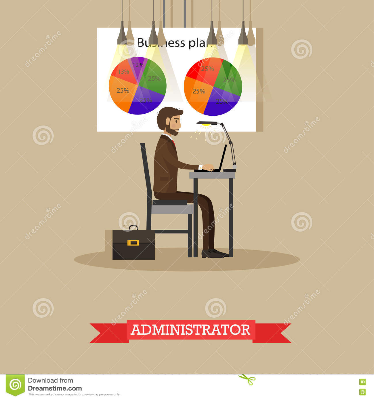 Company Administrator Work With Computer In Office Business Plan – Stock Plan Administrator