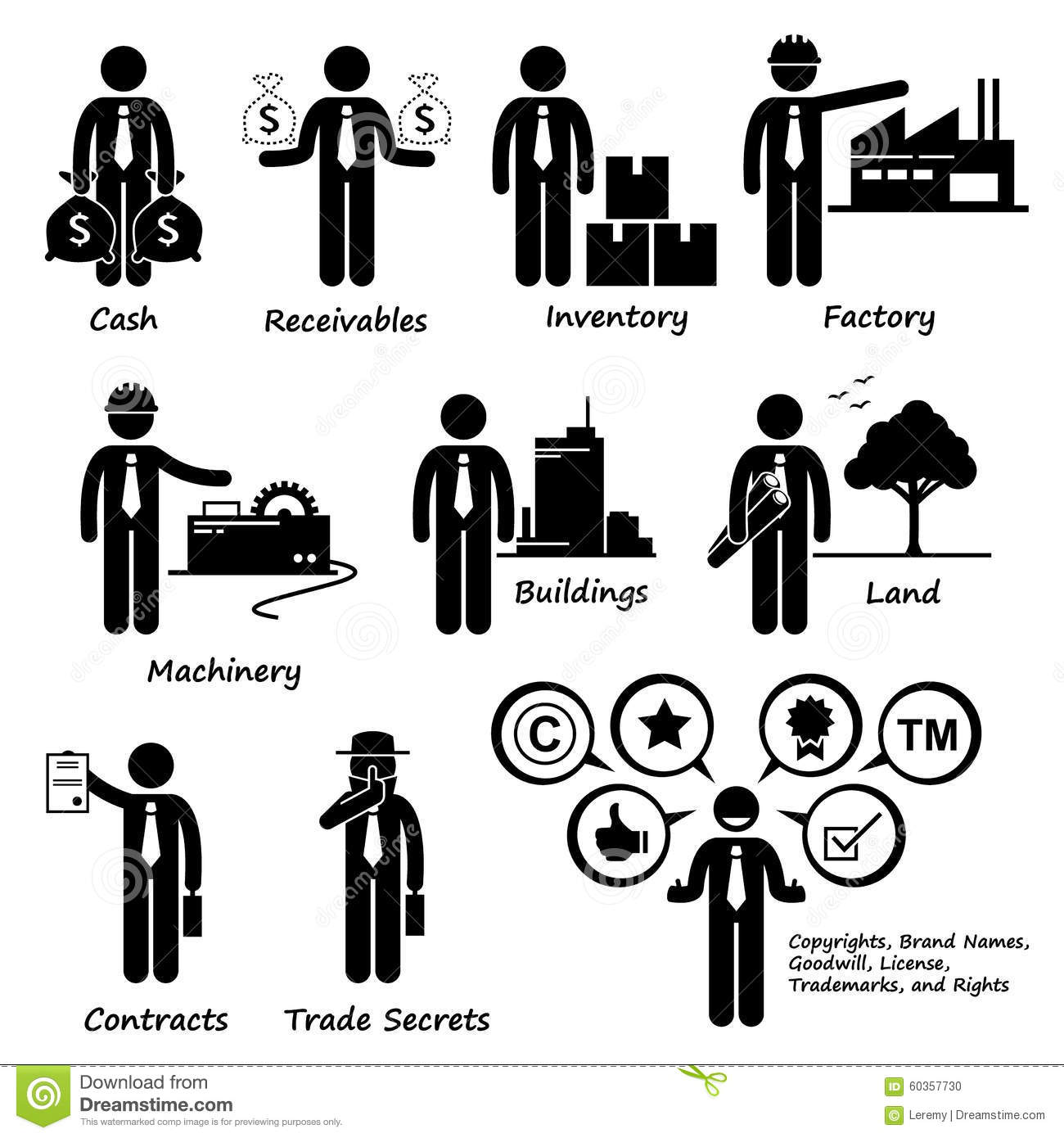 Company Business Assets Pictogram Clipart Stock Vector
