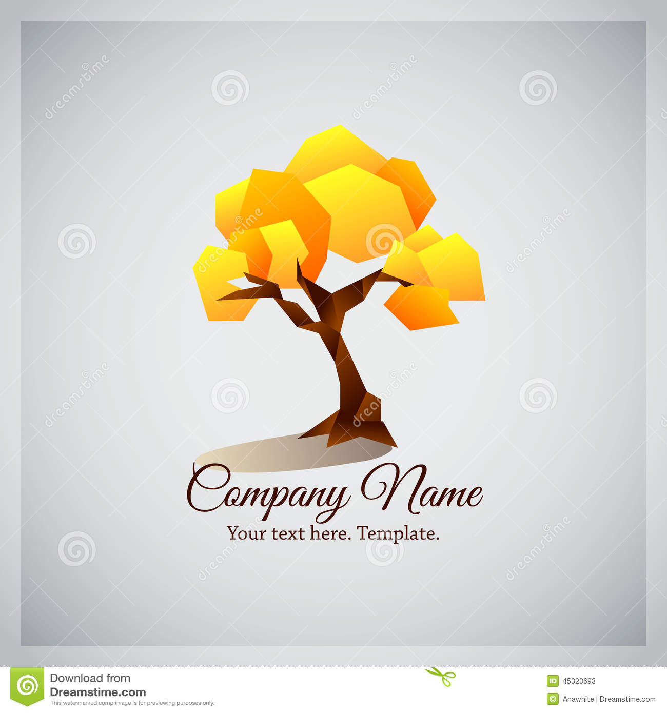 Company Business Logo With Geometric Yellow Tree Stock ...